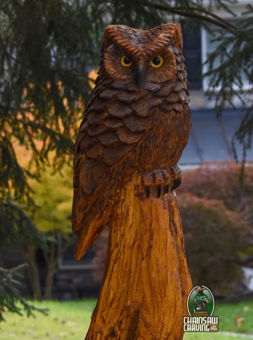 Chainsaw carving by paul owls